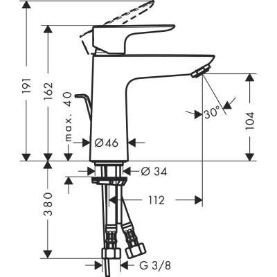Einhand-Waschtischbatterie Talis E 110 chrom m.Ablaufgarnitur Hansgr. - 1