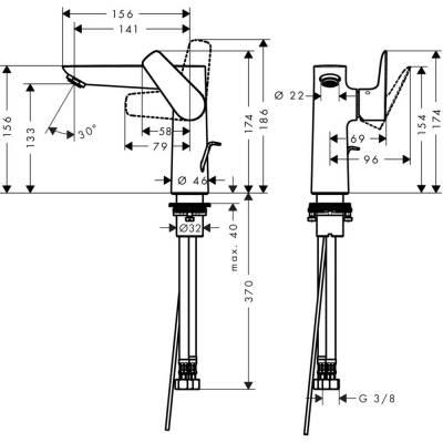 Einh.-Waschtischbatterie Talis E 150 chrom m.seitl.Hebel m.Ablaufgarn.Hansgr. - 1