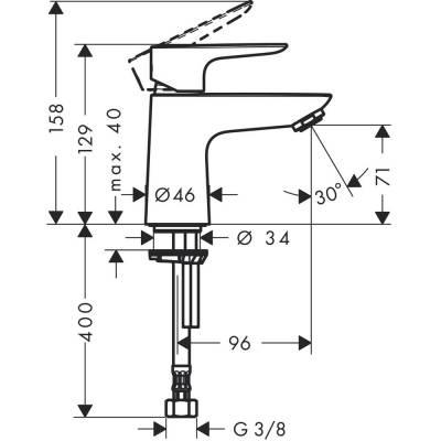 Standventil Talis E 80 für Kaltwasser chrom ohne Ablaufgarnitur Hansgr. - 1