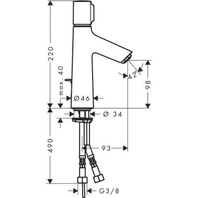 Einhand-WT-Batterie Talis Select S 100 chrom m.Ablaufgarnitur Hansgr. - 1