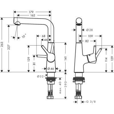 Einhand-Waschtischbatterie Talis S 210 chrom m.seitl.Hebel m.Ablaufgarn.Hansgr. - 1