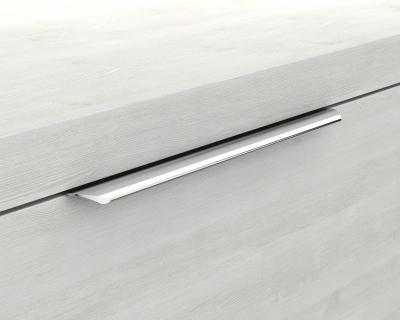Glaswaschbecken mit Unterschrank derby links 490x250x600 mit Griffleiste Weiß Hochglanz - 1