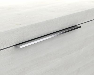 Glaswaschbecken mit Unterschrank derby links 490x250x600 mit Griffleiste Eiche Dekor Merino - 1
