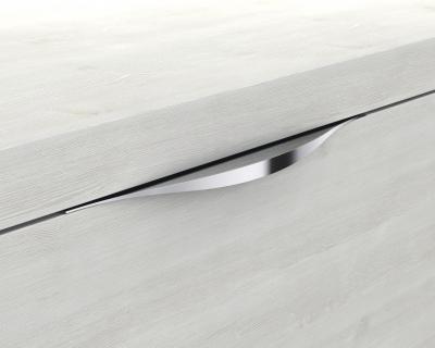 Glaswaschbecken mit Unterschrank derby links 490x250x600 mit Griff Eiche Dekor Merino - 1