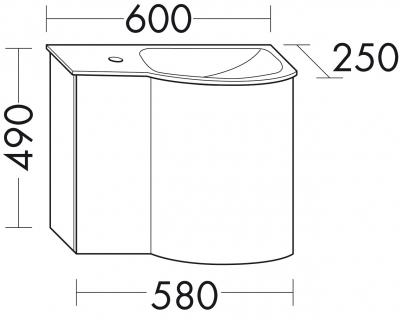 Glaswaschbecken mit Unterschrank derby rechts 490x250x600 mit Griff Eiche Dekor Merino - 1