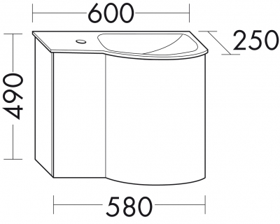 Glaswaschbecken mit Unterschrank derby rechts 490x250x600 mit Griff Anthrazit Hochglanz - 1
