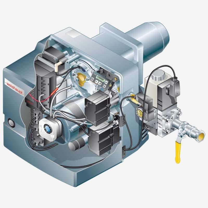 Gasbrenner WG10N/1-D ZM-LN Armaturen R3/4, W-MF 507, 25-110 kW - 2