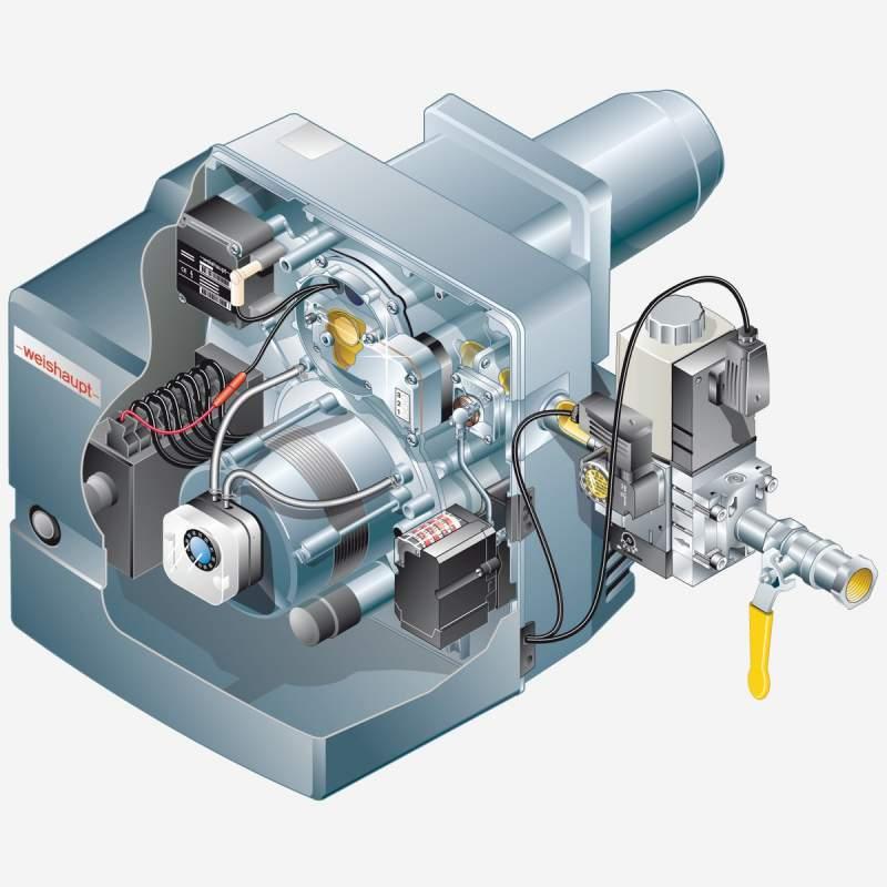 Gasbrenner WG10N/1-D Z-LN Armaturen R3/4, W-MF 507, 25-110 kW - 2