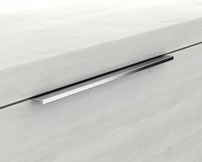 Glaswaschbecken mit Unterschrank derby rechts 490x250x600 mit Griffleiste Eiche Dekor Merino - 2